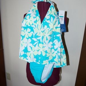 Jantzen Blue Floral Tankini 16 NWT